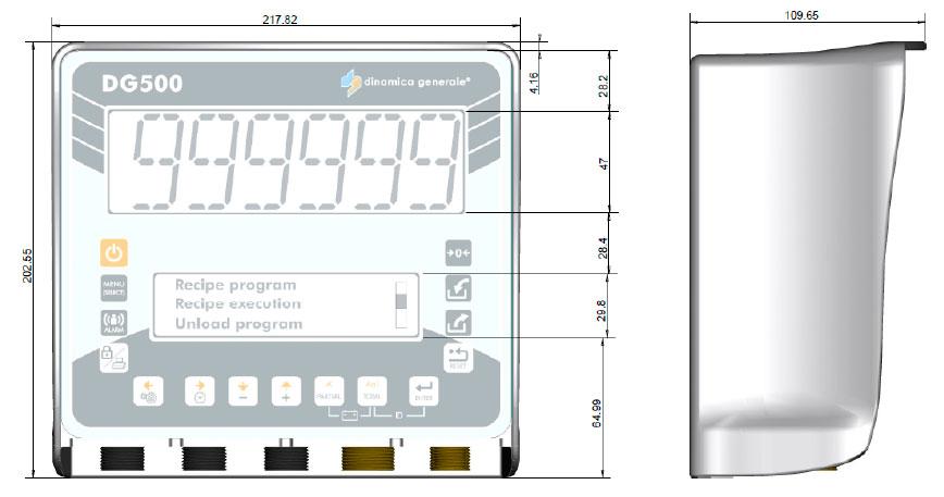 Dimensões do indicador de pesagem DG500